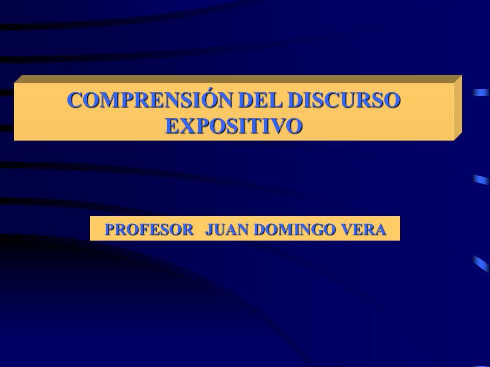 COMPRENSIÓN DEL DISCURSO EXPOSITIVO PROFESOR JUAN DOMINGO VERA
