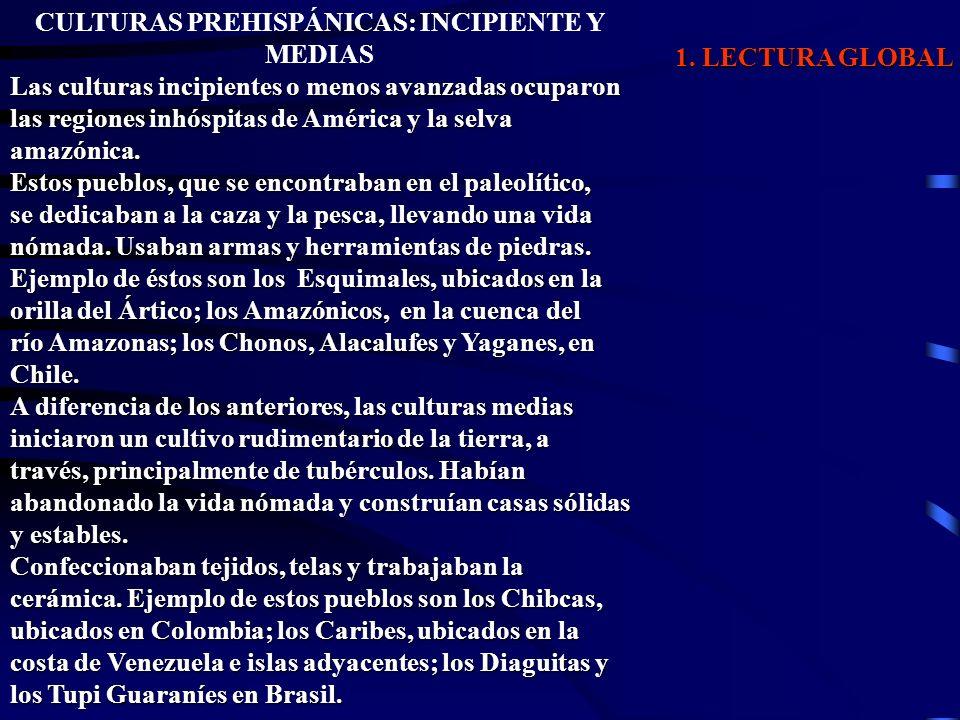 1. LECTURA GLOBAL CULTURAS PREHISPÁNICAS: INCIPIENTE Y MEDIAS Las culturas incipientes o menos avanzadas ocuparon las regiones inhóspitas de América y