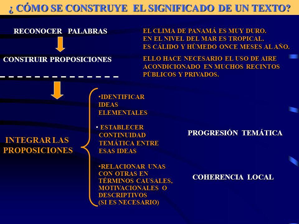 ¿ CÓMO SE CONSTRUYE EL SIGNIFICADO DE UN TEXTO.