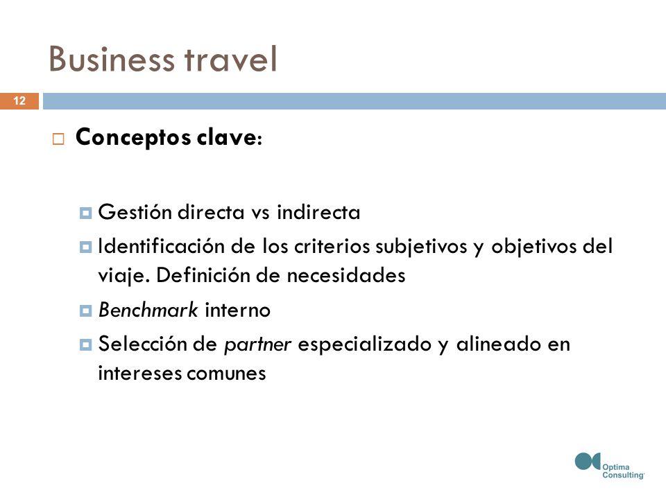 Business travel 12 Conceptos clave: Gestión directa vs indirecta Identificación de los criterios subjetivos y objetivos del viaje. Definición de neces