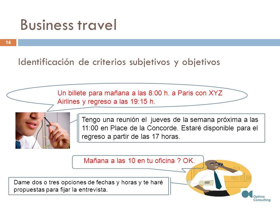 Un billete para mañana a las 8:00 h. a Paris con XYZ Airlines y regreso a las 19:15 h. Tengo una reunión el jueves de la semana próxima a las 11:00 en