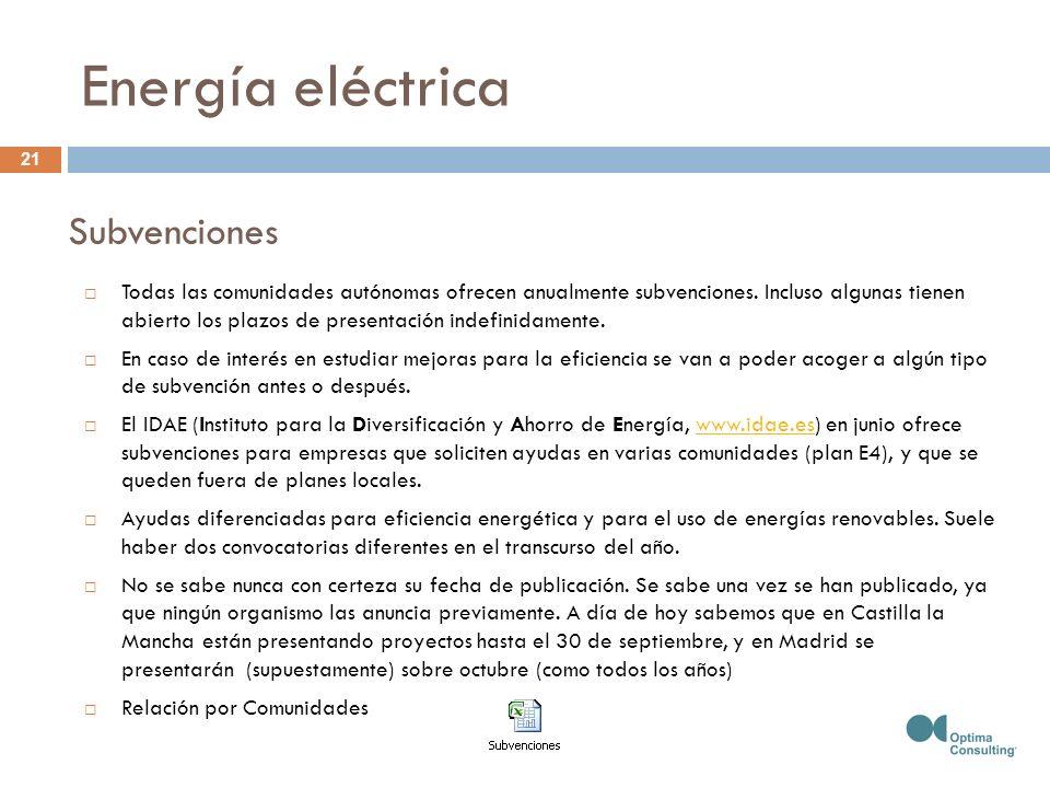Energía eléctrica Todas las comunidades autónomas ofrecen anualmente subvenciones. Incluso algunas tienen abierto los plazos de presentación indefinid