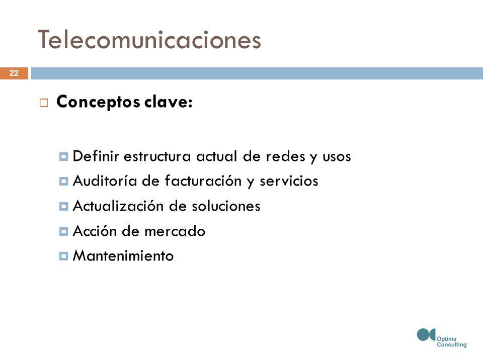 Telecomunicaciones Conceptos clave: Definir estructura actual de redes y usos Auditoría de facturación y servicios Actualización de soluciones Acción de mercado Mantenimiento 22