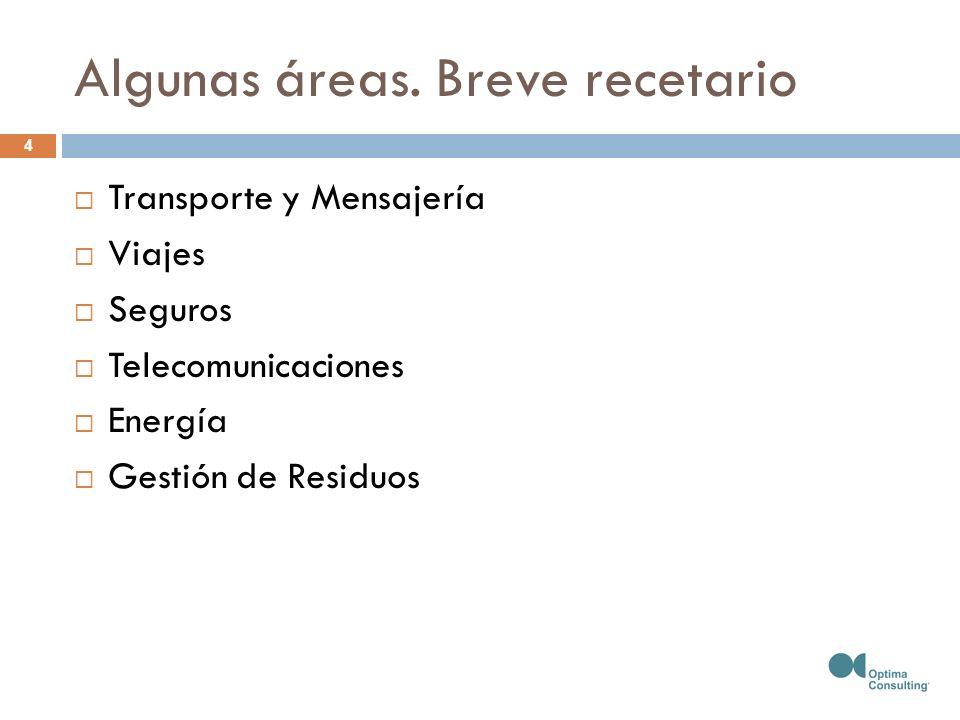 Algunas áreas. Breve recetario Transporte y Mensajería Viajes Seguros Telecomunicaciones Energía Gestión de Residuos 4