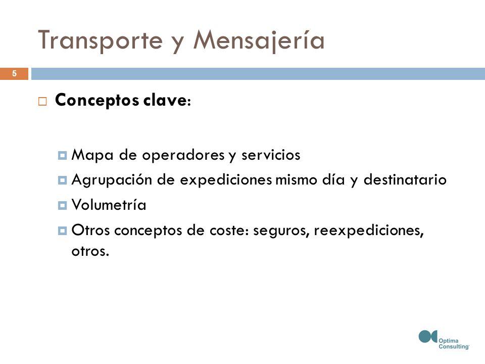 Transporte y Mensajería Conceptos clave: Mapa de operadores y servicios Agrupación de expediciones mismo día y destinatario Volumetría Otros conceptos de coste: seguros, reexpediciones, otros.