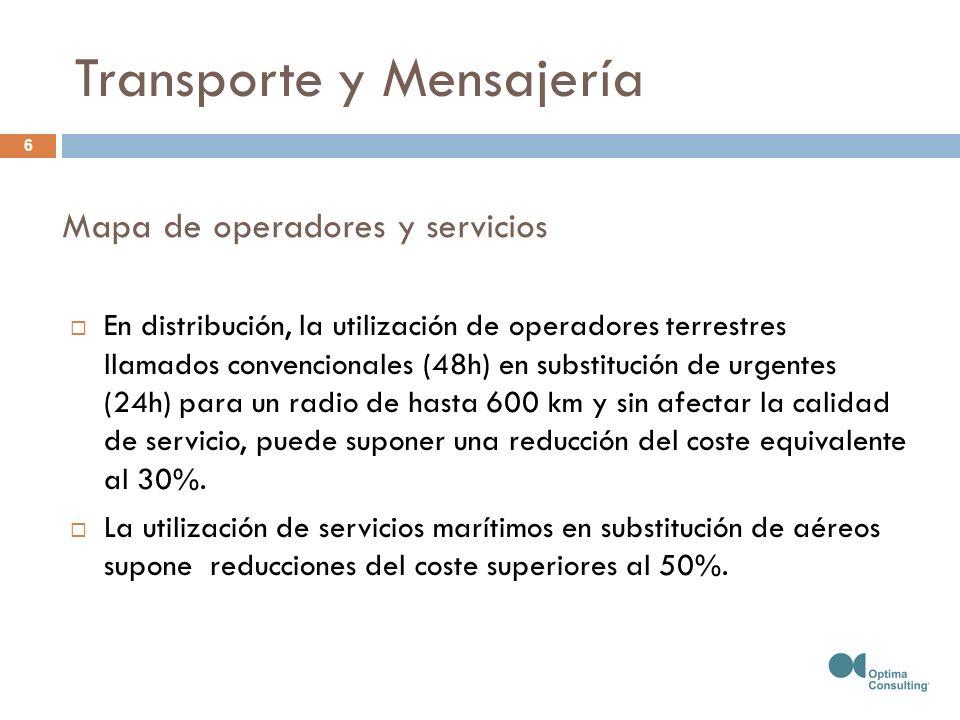 Mapa de operadores y servicios En distribución, la utilización de operadores terrestres llamados convencionales (48h) en substitución de urgentes (24h) para un radio de hasta 600 km y sin afectar la calidad de servicio, puede suponer una reducción del coste equivalente al 30%.