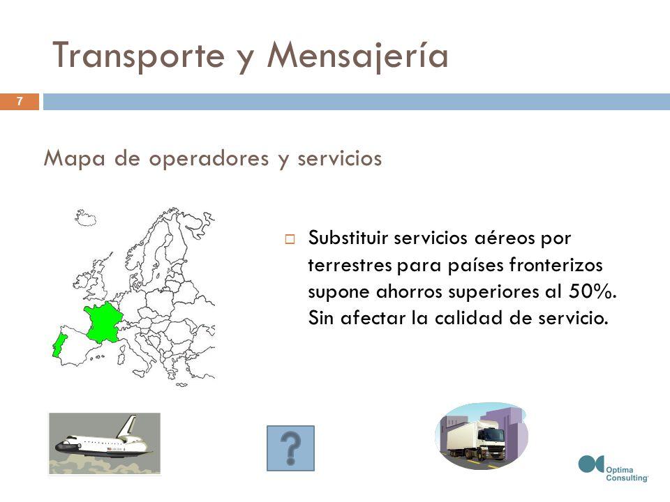 Substituir servicios aéreos por terrestres para países fronterizos supone ahorros superiores al 50%. Sin afectar la calidad de servicio. Mapa de opera