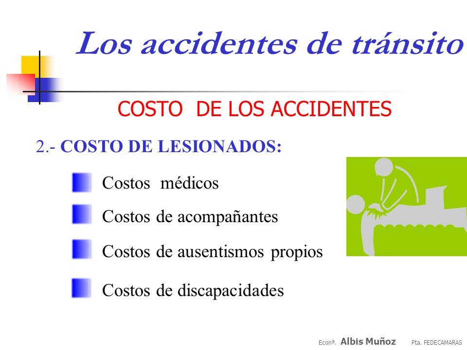 Econª. Albis Muñoz Pta. FEDECAMARAS Costos de pérdida de generación de producto COSTO DE LOS ACCIDENTES 1.- COSTO DE FALLECIDOS: Costos de pérdida de
