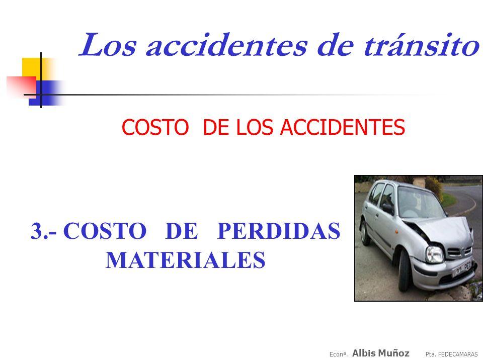 Econª. Albis Muñoz Pta. FEDECAMARAS Costos médicos COSTO DE LOS ACCIDENTES 2.- COSTO DE LESIONADOS: Costos de acompañantes Costos de ausentismos propi