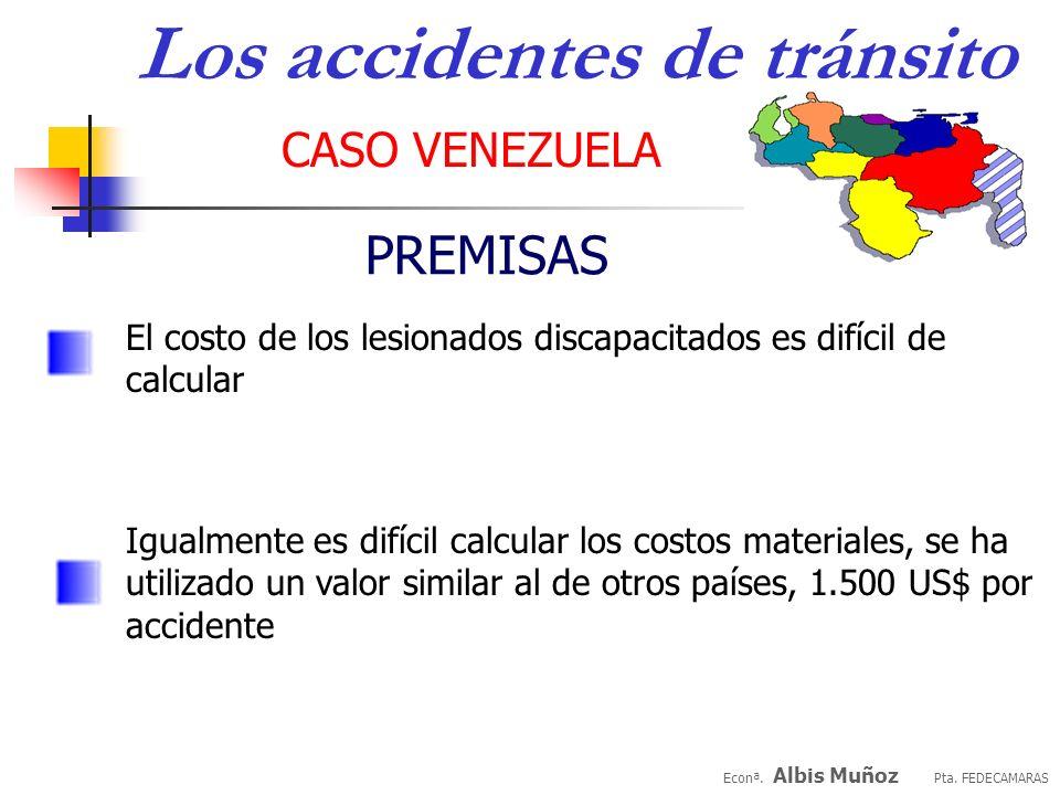 Econª. Albis Muñoz Pta. FEDECAMARAS CASO VENEZUELA Los accidentes de tránsito PREMISAS 40% de los lesionados tienen menos de 45 años, estimamos un pro