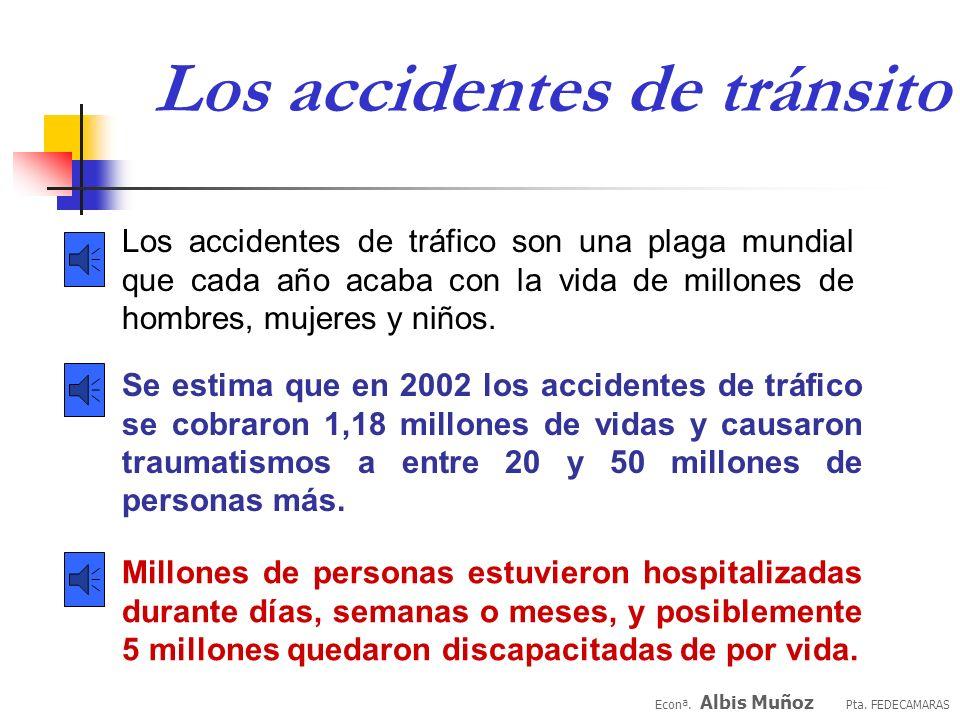Se estima que en 2002 los accidentes de tráfico se cobraron 1,18 millones de vidas y causaron traumatismos a entre 20 y 50 millones de personas más.