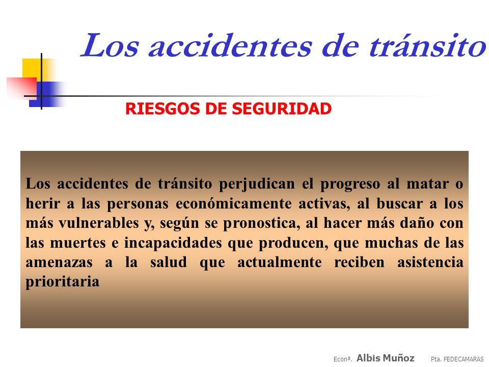 Econª. Albis Muñoz Pta. FEDECAMARAS Los accidentes de tránsito RIESGOS DE SEGURIDAD La velocidad del tránsito es asunto de vida o muerte para los peat