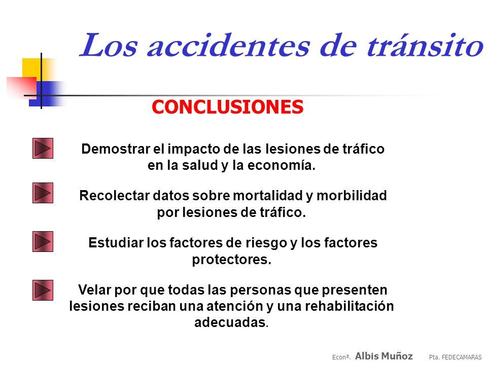 Econª. Albis Muñoz Pta. FEDECAMARAS Los accidentes de tránsito RIESGOS DE SEGURIDAD Para las comunidades y las organizaciones los retos son claros: id
