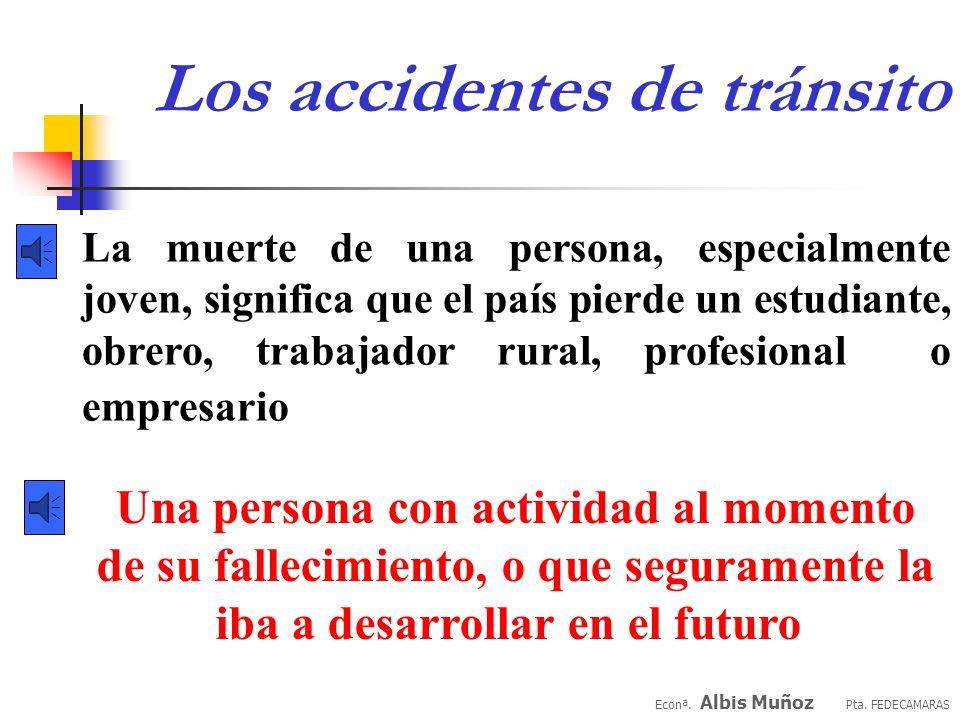 Los accidentes de tránsito Econª. Albis Muñoz Pta. FEDECAMARAS son origen de altísimos costos sociales que no sólo deben pagar quienes directa o indir