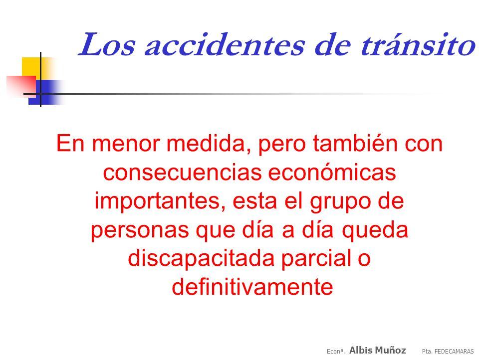 Los accidentes de tránsito Econª. Albis Muñoz Pta. FEDECAMARAS Algún otro individuo deberá cubrir lo que él o ella no va a hacer El resto de la socied