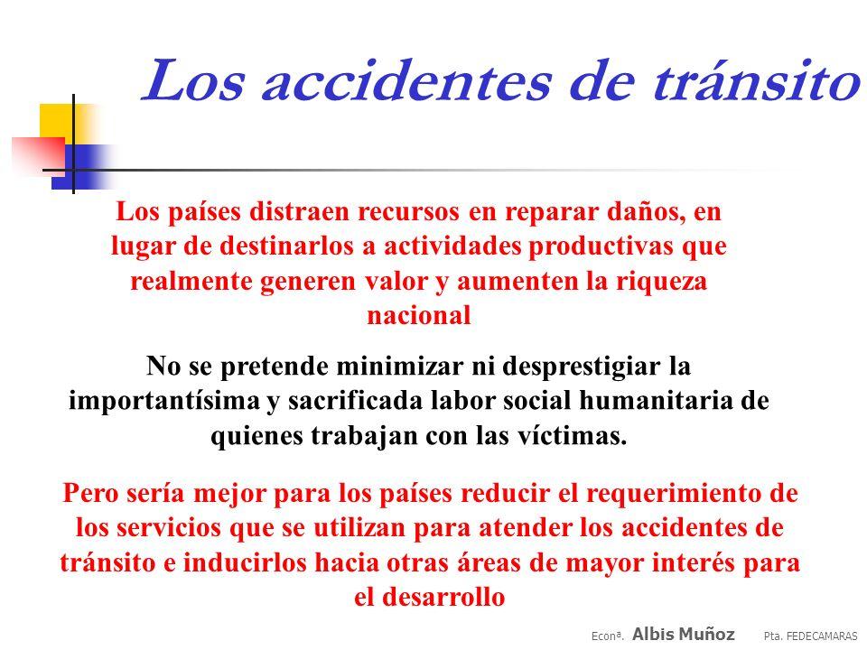 Los accidentes de tránsito Econª. Albis Muñoz Pta. FEDECAMARAS En menor medida, pero también con consecuencias económicas importantes, esta el grupo d