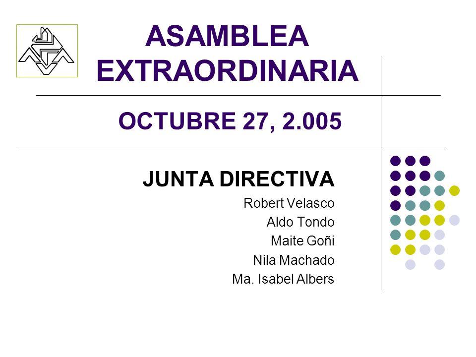 ASAMBLEA EXTRAORDINARIA JUNTA DIRECTIVA Robert Velasco Aldo Tondo Maite Goñi Nila Machado Ma. Isabel Albers OCTUBRE 27, 2.005
