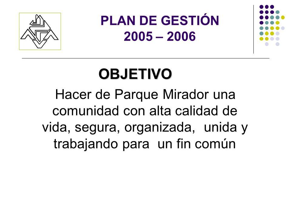 PLAN DE GESTIÓN 2005 – 2006 OBJETIVO Hacer de Parque Mirador una comunidad con alta calidad de vida, segura, organizada, unida y trabajando para un fin común
