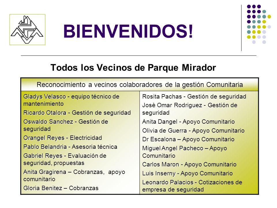 BIENVENIDOS! Todos los Vecinos de Parque Mirador Reconocimiento a vecinos colaboradores de la gestión Comunitaria Gladys Velasco Gladys Velasco - equi