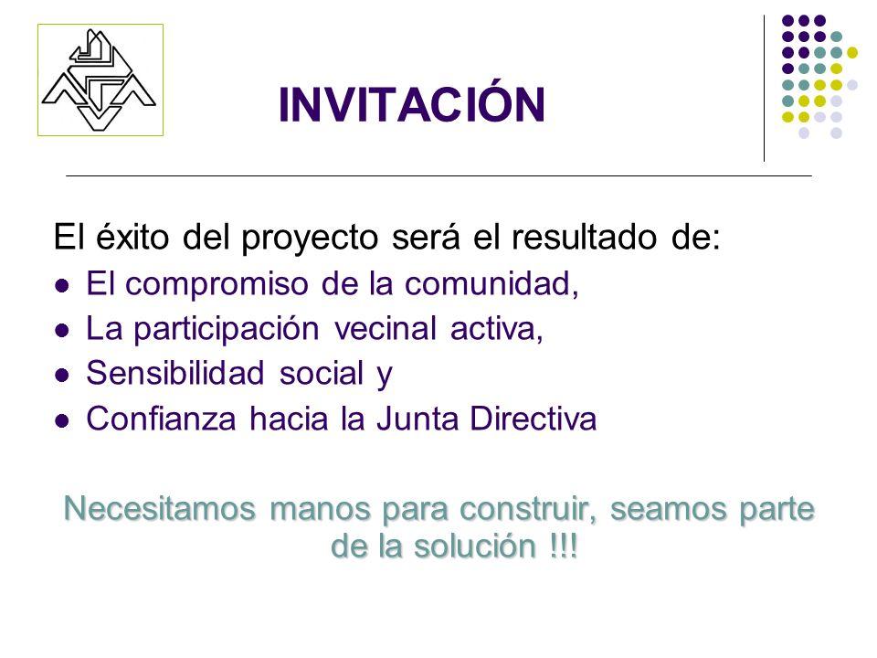 INVITACIÓN El éxito del proyecto será el resultado de: El compromiso de la comunidad, La participación vecinal activa, Sensibilidad social y Confianza hacia la Junta Directiva Necesitamos manos para construir, seamos parte de la solución !!!