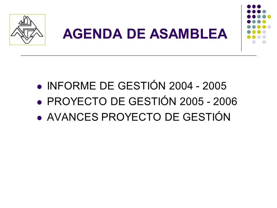 AGENDA DE ASAMBLEA INFORME DE GESTIÓN 2004 - 2005 PROYECTO DE GESTIÓN 2005 - 2006 AVANCES PROYECTO DE GESTIÓN