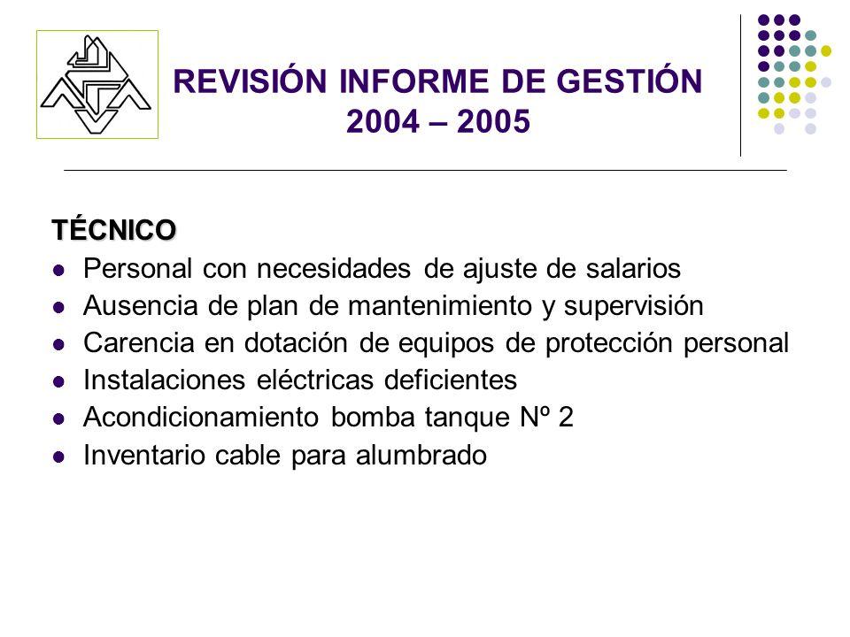REVISIÓN INFORME DE GESTIÓN 2004 – 2005 TÉCNICO Personal con necesidades de ajuste de salarios Ausencia de plan de mantenimiento y supervisión Carenci