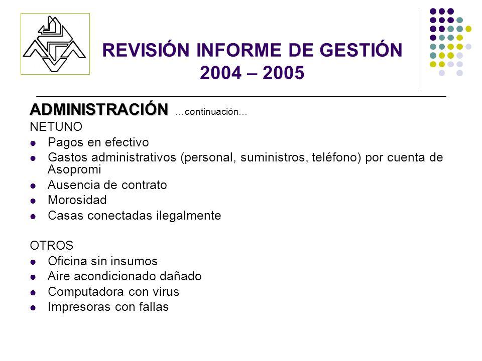 ADMINISTRACIÓN ADMINISTRACIÓN …continuación… NETUNO Pagos en efectivo Gastos administrativos (personal, suministros, teléfono) por cuenta de Asopromi