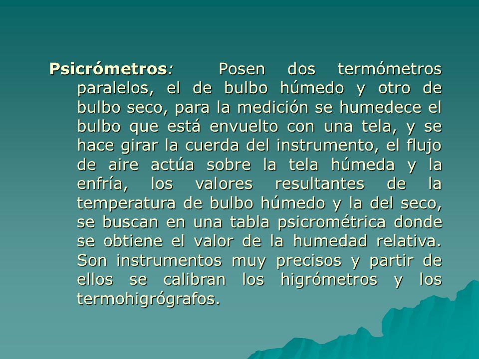 Psicrómetros: Posen dos termómetros paralelos, el de bulbo húmedo y otro de bulbo seco, para la medición se humedece el bulbo que está envuelto con un