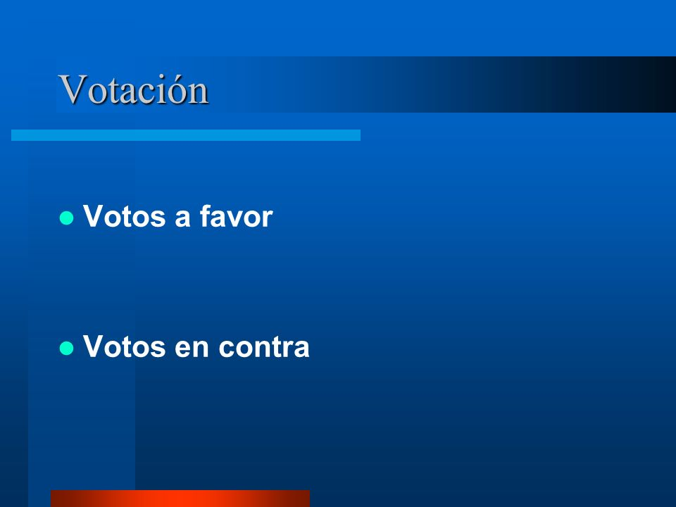Votación Votos a favor Votos en contra