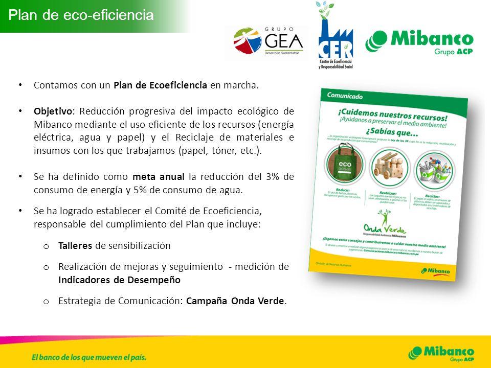 Contamos con un Plan de Ecoeficiencia en marcha. Objetivo: Reducción progresiva del impacto ecológico de Mibanco mediante el uso eficiente de los recu