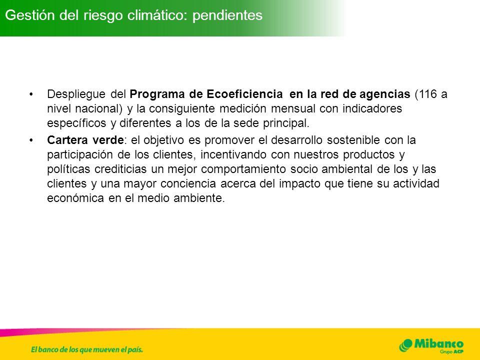 Despliegue del Programa de Ecoeficiencia en la red de agencias (116 a nivel nacional) y la consiguiente medición mensual con indicadores específicos y