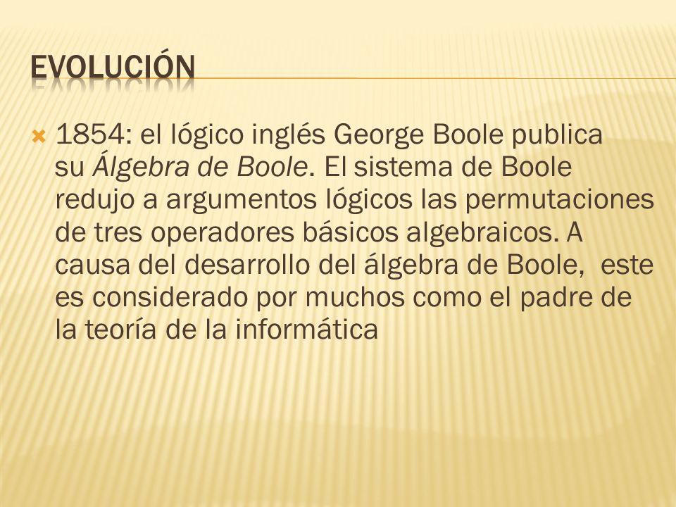 1837: Charles Babbage describe la máquina analítica. Es el diseño de un computador moderno de propósito general. La idea que tuvo sobre un computador
