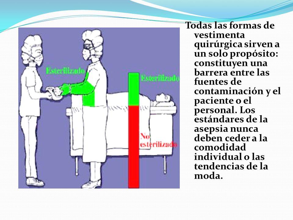 Todas las formas de vestimenta quirúrgica sirven a un solo propósito: constituyen una barrera entre las fuentes de contaminación y el paciente o el pe