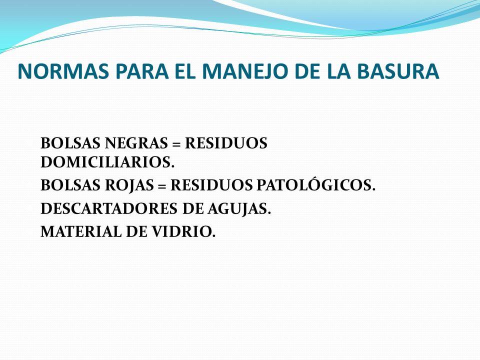 NORMAS PARA EL MANEJO DE LA BASURA BOLSAS NEGRAS = RESIDUOS DOMICILIARIOS. BOLSAS ROJAS = RESIDUOS PATOLÓGICOS. DESCARTADORES DE AGUJAS. MATERIAL DE V