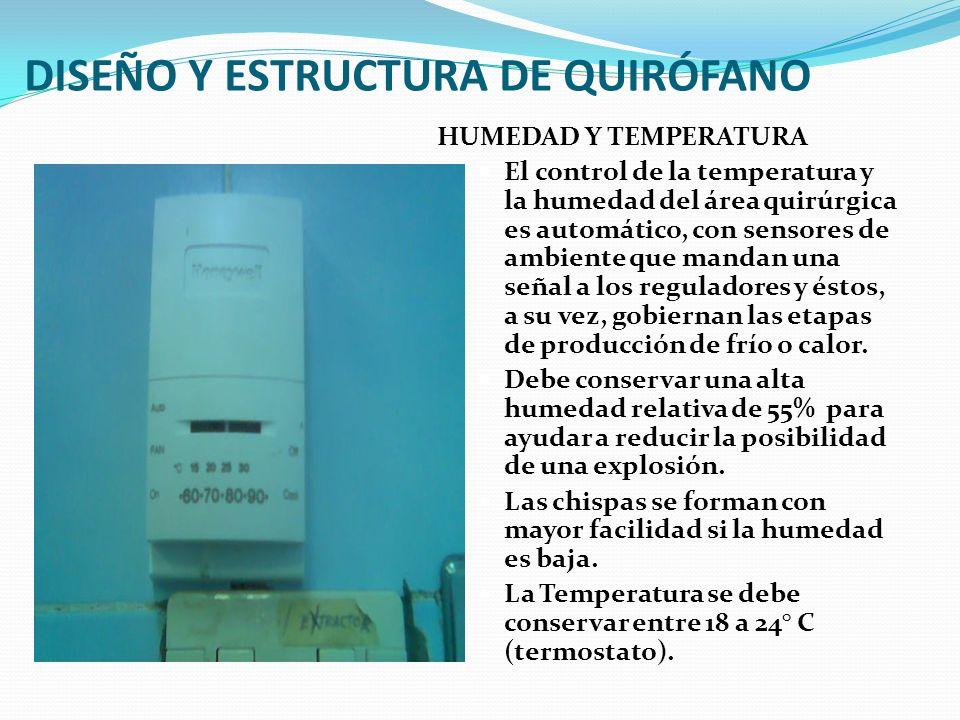 DISEÑO Y ESTRUCTURA DE QUIRÓFANO HUMEDAD Y TEMPERATURA El control de la temperatura y la humedad del área quirúrgica es automático, con sensores de am