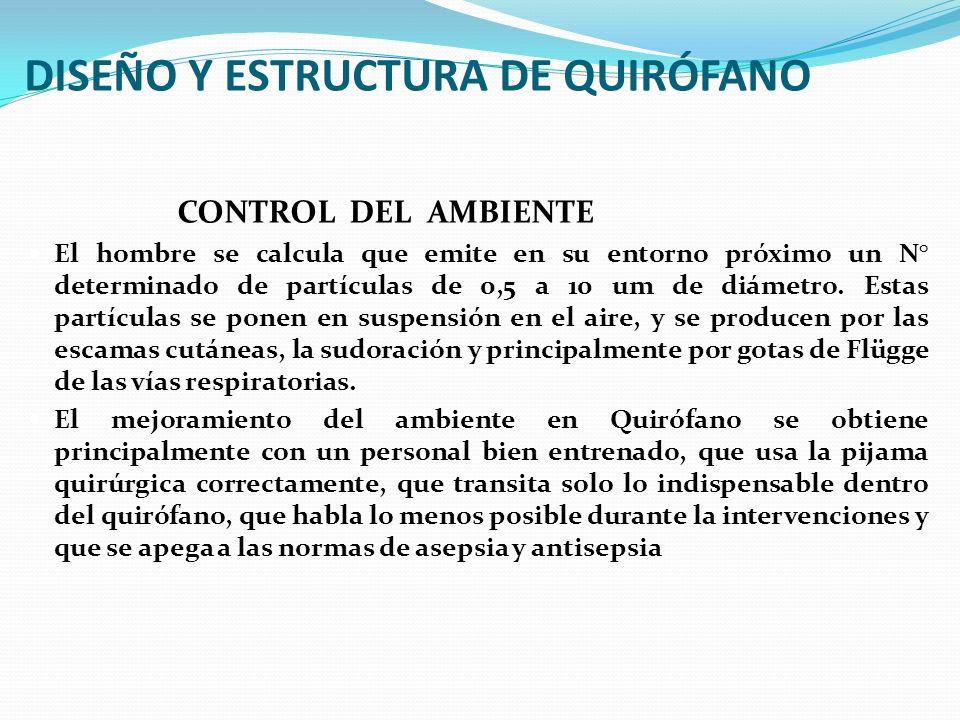 DISEÑO Y ESTRUCTURA DE QUIRÓFANO CONTROL DEL AMBIENTE El hombre se calcula que emite en su entorno próximo un N° determinado de partículas de 0,5 a 10