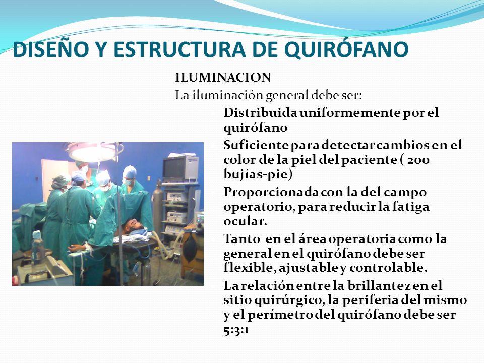 DISEÑO Y ESTRUCTURA DE QUIRÓFANO ILUMINACION La iluminación general debe ser: Distribuida uniformemente por el quirófano Suficiente para detectar camb