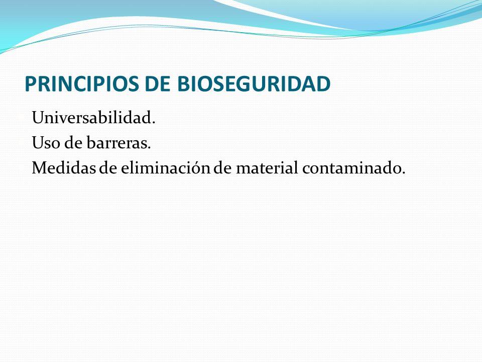 PRINCIPIOS DE BIOSEGURIDAD Universabilidad. Uso de barreras. Medidas de eliminación de material contaminado.