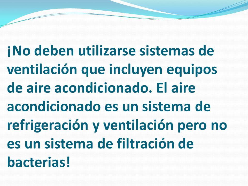 ¡No deben utilizarse sistemas de ventilación que incluyen equipos de aire acondicionado. El aire acondicionado es un sistema de refrigeración y ventil