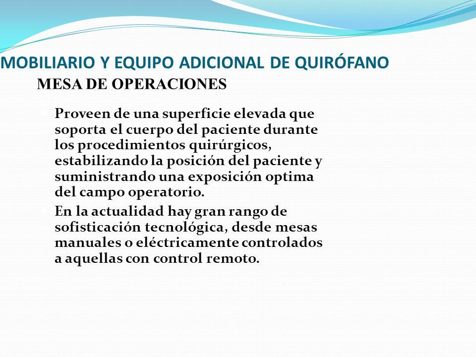 MOBILIARIO Y EQUIPO ADICIONAL DE QUIRÓFANO Proveen de una superficie elevada que soporta el cuerpo del paciente durante los procedimientos quirúrgicos