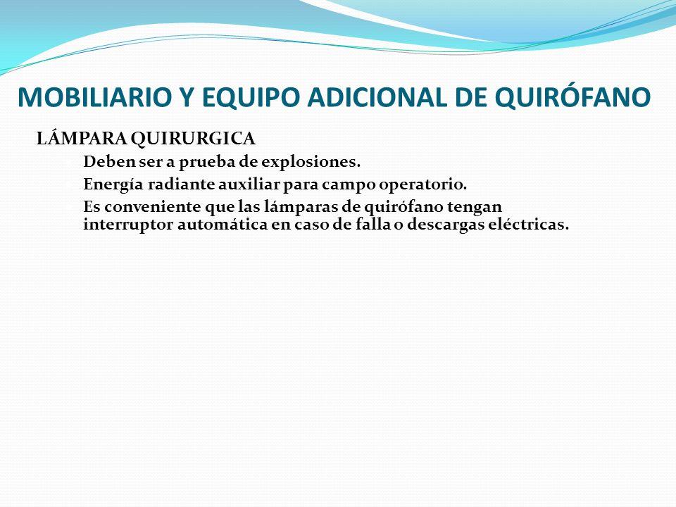MOBILIARIO Y EQUIPO ADICIONAL DE QUIRÓFANO LÁMPARA QUIRURGICA Deben ser a prueba de explosiones. Energía radiante auxiliar para campo operatorio. Es c