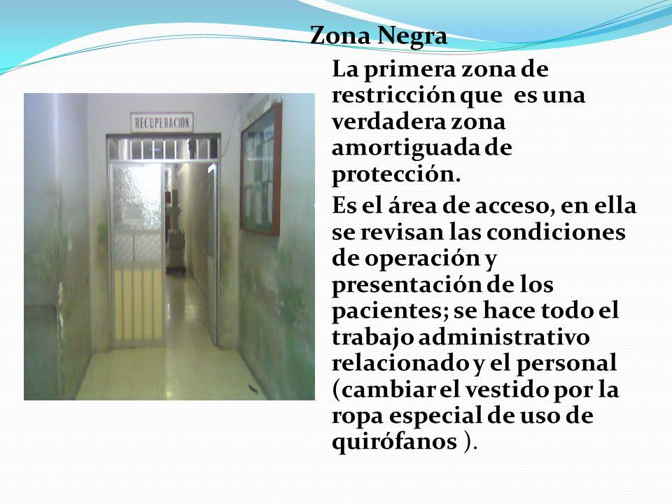Zona Negra La primera zona de restricción que es una verdadera zona amortiguada de protección. Es el área de acceso, en ella se revisan las condicione