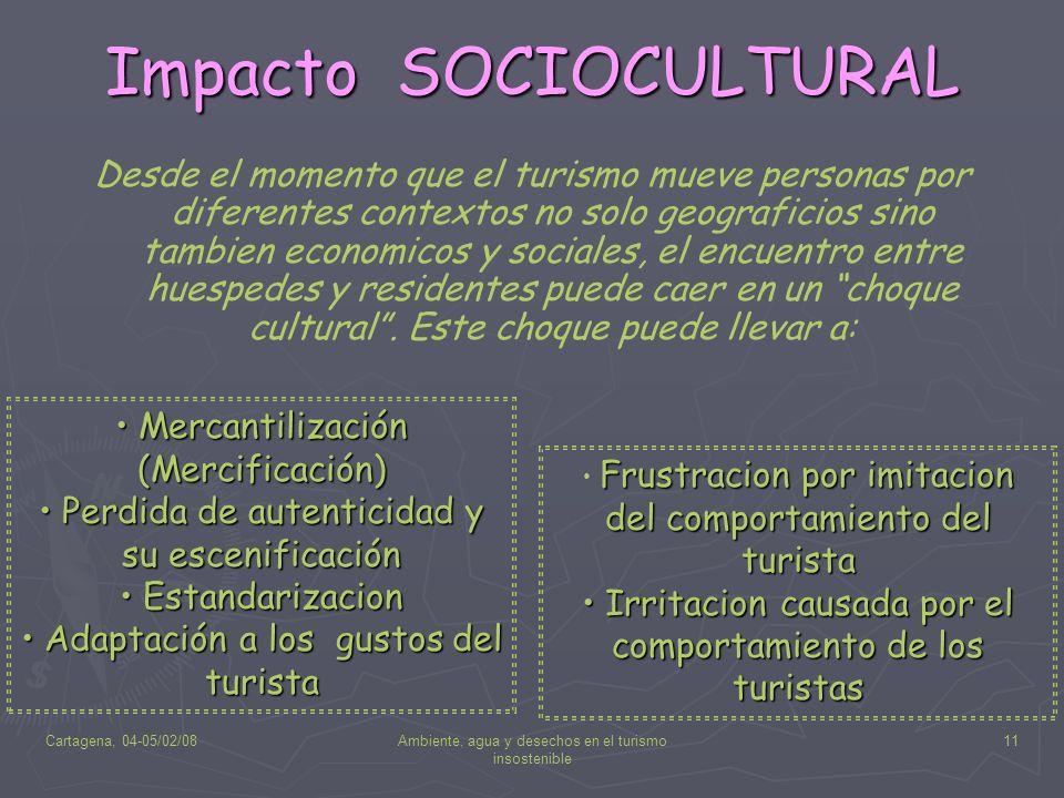 Cartagena, 04-05/02/08Ambiente, agua y desechos en el turismo insostenible 11 Impacto SOCIOCULTURAL Desde el momento que el turismo mueve personas por