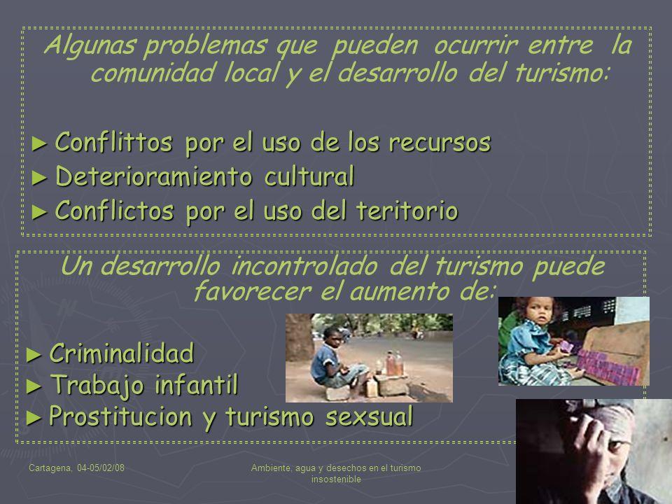Cartagena, 04-05/02/08Ambiente, agua y desechos en el turismo insostenible 12 Un desarrollo incontrolado del turismo puede favorecer el aumento de: Cr