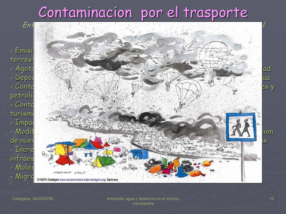 Cartagena, 04-05/02/08Ambiente, agua y desechos en el turismo insostenible 15 Contaminacion por el trasporte Entre los principales impactos generados