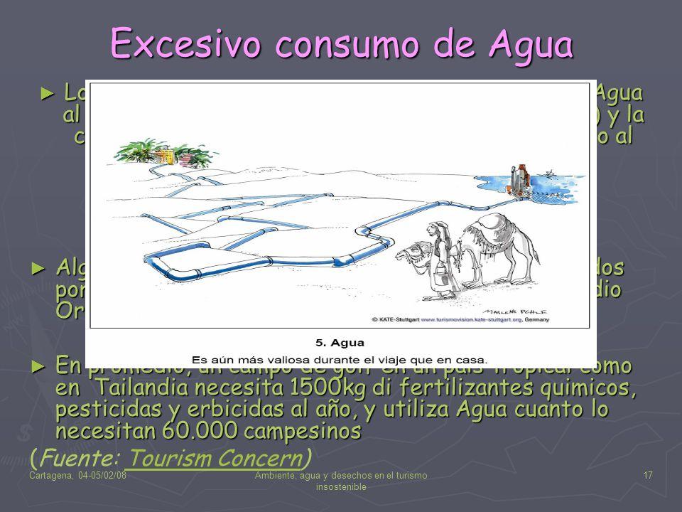 Cartagena, 04-05/02/08Ambiente, agua y desechos en el turismo insostenible 17 Excesivo consumo de Agua Los turistas consumen aproximadamente 440 l de