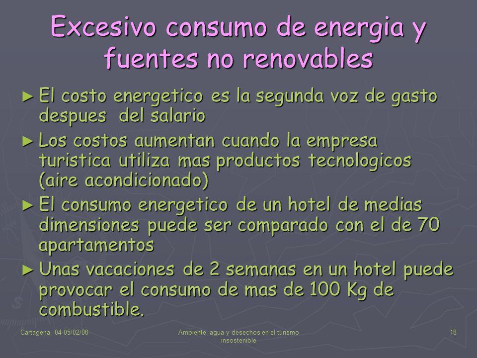 Cartagena, 04-05/02/08Ambiente, agua y desechos en el turismo insostenible 18 Excesivo consumo de energia y fuentes no renovables El costo energetico