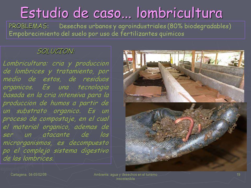 Cartagena, 04-05/02/08Ambiente, agua y desechos en el turismo insostenible 19 Estudio de caso... lombricultura PROBLEMAS PROBLEMAS: Desechos urbanos y