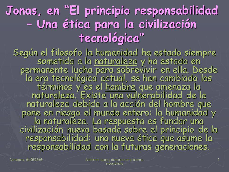 Cartagena, 04-05/02/08Ambiente, agua y desechos en el turismo insostenible 2 Jonas, en El principio responsabilidad – Una ética para la civilización t