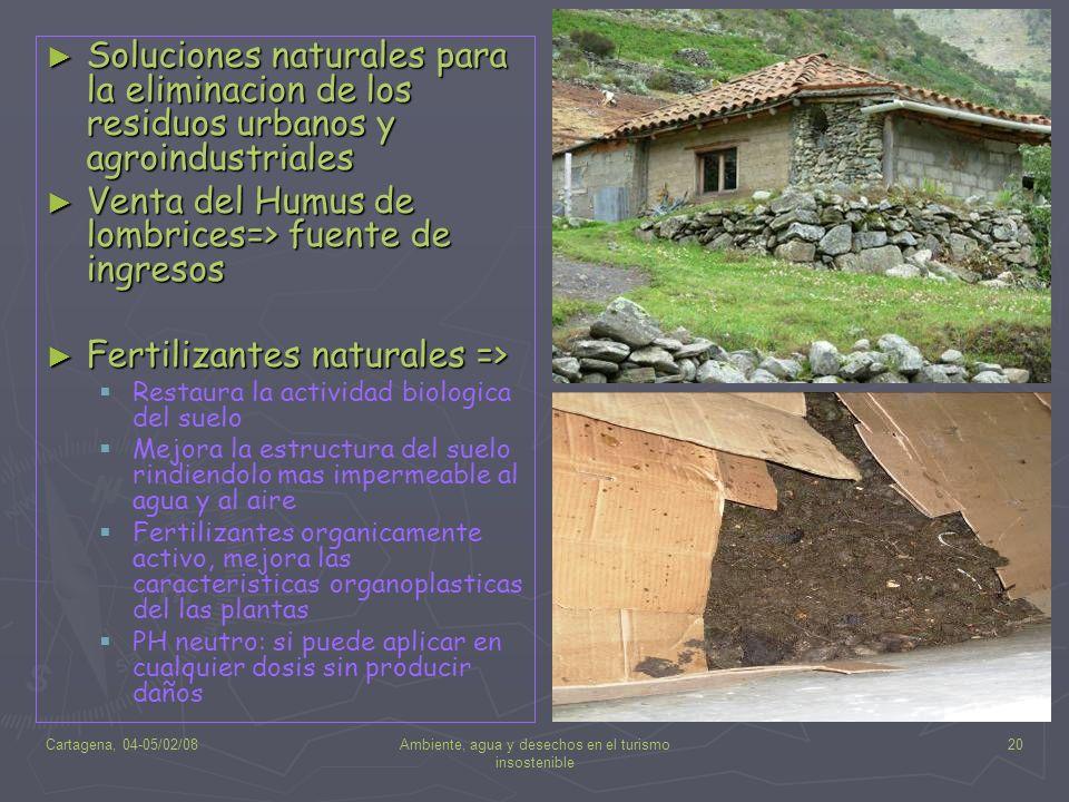 Cartagena, 04-05/02/08Ambiente, agua y desechos en el turismo insostenible 20 Soluciones naturales para la eliminacion de los residuos urbanos y agroi
